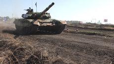 Танковый биатлон в Донбассе: гонки по трассе и выступление бойцов ополчения