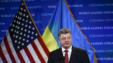 Президент Украины Петр Порошенко в время выступления в Колумбийском университете в Нью-Йорке, США. 30 сентября 2015. Архивное фото