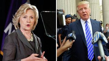 Кандидаты на выборах президента США от демократов - Хиллари Клинтон и Дональд Трамп - от республиканцев. Архивное фото
