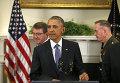 Президент США Барак Обама перед началом заявления об Афганистане 15 октября 2015