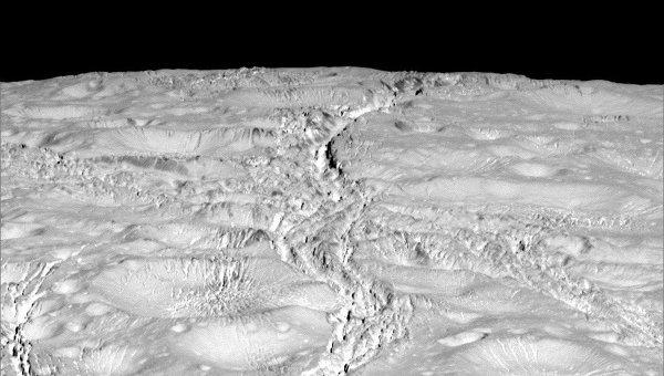 Загадочные трещины на северном полюсе Энцелада
