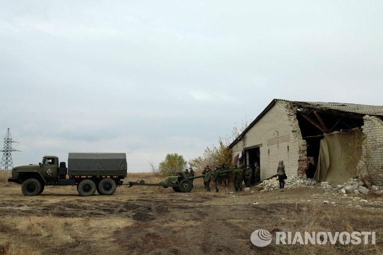 Военная техника, отведенная от линии соприкосновения в Донецкой области