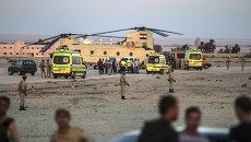 Автомобили скорой помощи с телами жертв авиакатастрофы в Египте. 31 октября 2015