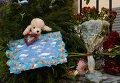 Цветы и детские игрушки у Российского посольства в Киеве в память о жертвах авиакатастрофы лайнера Airbus-321 авиакомпании Когалымавиа, который выполнял рейс 9268 Шарм-эш-Шейх - Санкт-Петербург