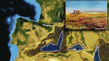 Карта высохшего Средиземного моря во время Мессинского пика солености