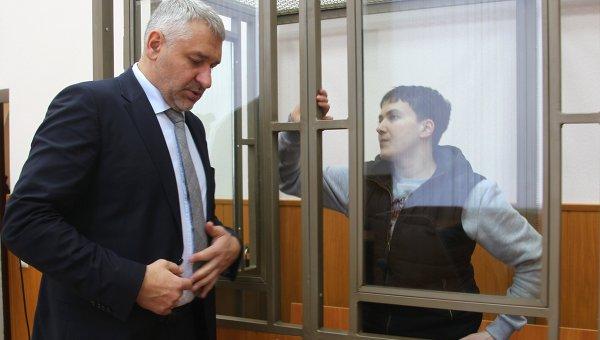 Надежда Савченко и адвокат Марк Фейгин на заседании Донецкого городского суда Ростовской области. Архивное фото