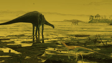 Так художник представил себе зауроподов, живших на острове Скай 170 миллионов лет назад