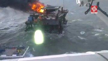 Пожар на платформе на морском нефтегазовом месторождении Гюнешли