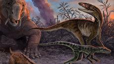 Так художник представил себе животных, бегущих от извержения вулкана в будущей Аргентине