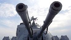 Крейсер Москва у базы Хмеймим в Сирии. Архивное фото