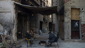 Беженцы в районе Ярмук в Дамаске. Архивное фото