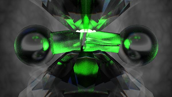 Алмазная наковальня, разрывающая молекулу водорода в представлении художника