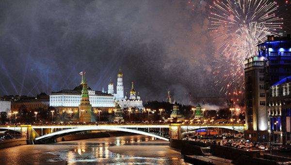 Новогодняя ночь в Москве.
