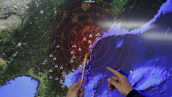 Демонстрация сейсмических волн от ядерного взрыва в Северной Корее, 6 января 2015