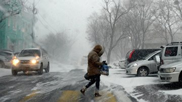Прохожий на Комсомольской улице во время снежного циклона во Владивостоке. Архивное фото