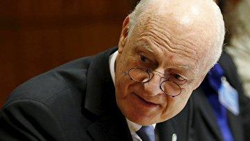Специальный представитель ООН по Сирии Стаффан де Мистура на переговорах в Женеве 29 января 2016