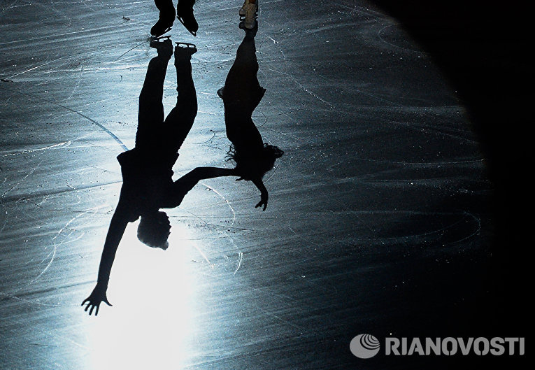 Пенни Кумс и Николас Бакленд (Великобритания) участвуют в показательных выступлениях чемпионата Европы