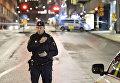 Сотрудник шведской полиции на улице Стокгольма