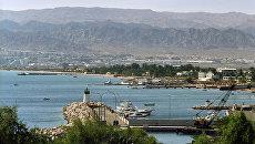 Вид на порт города Акаба. Иордания