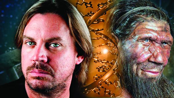 Коллаж современный человек (слева) и неандерталец (справа)