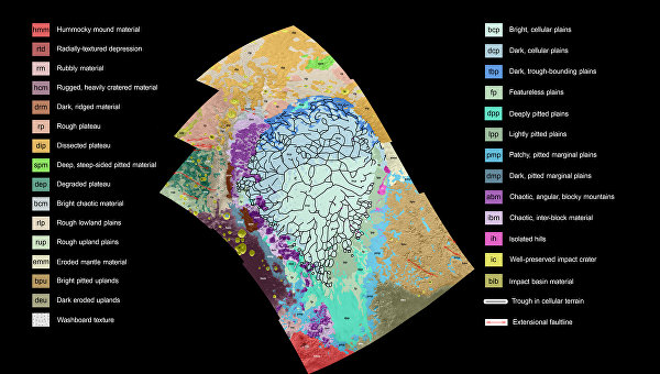 Геологическая карта равнин Спутника, левой половинки сердца Плутона