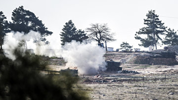 Позиция турецких военных на границе Турции и Сирии, 15 февраля 2016