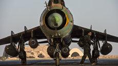 Самолет Су-22 сирийских ВВС на базе Военно-воздушных сил Сирии в провинции Хомс