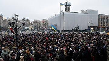 Участники Народного вече радикалов на майдане Незалежности в Киеве. Архив