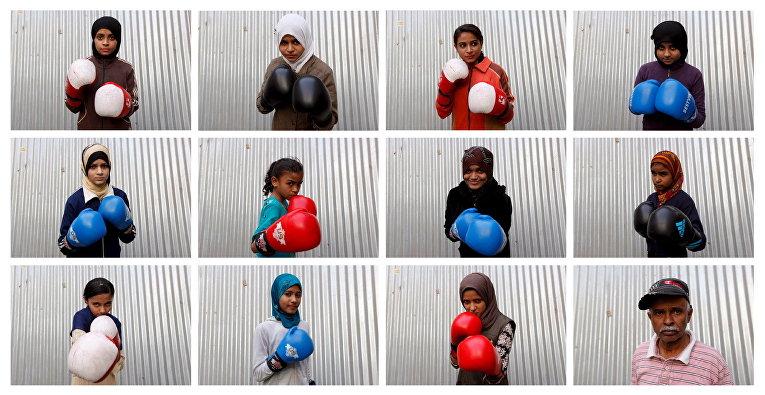 Портреты девочек, тренирующихся в боксерской школе в Карачи, Пакистан