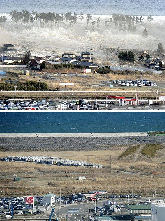 Снимок последствий цунами 11 марта 2011 (вверху) и снимок 18 февраля 2016 (внизу) в Японии