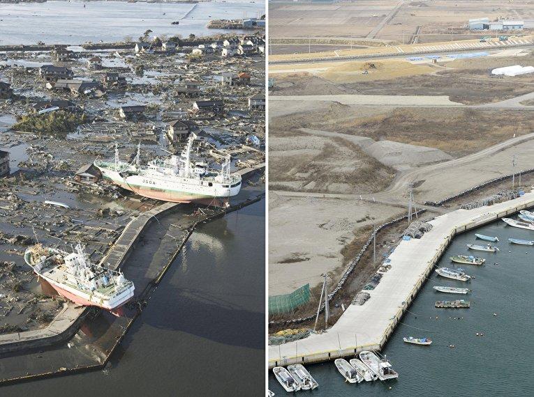 Снимок последствий цунами 12 марта 2011 (слева) и снимок 4 марта 2016 (справа) в Японии