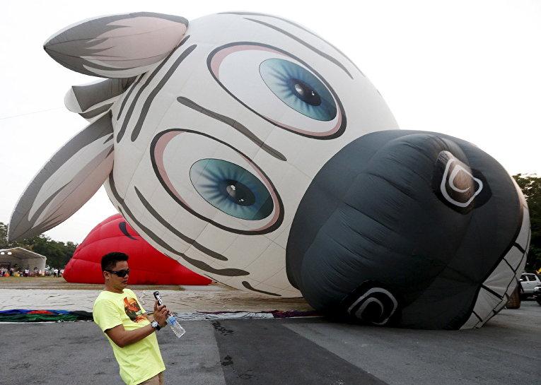 Посетитель на фестивале воздушных шаров в Путраджайе, Малайзия