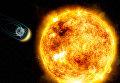 Так художник представил себе взаимодействие магнитного поля Земли и солнечного ветра