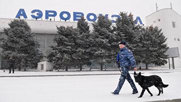 Сотрудник правоохранительных органов с собакой у здания аэропорта Ростова-на-Дону