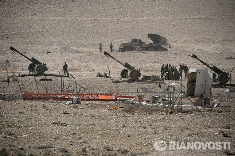 Позиция отряда народного ополчения Соколы пустыни в районе сирийского города Пальмира