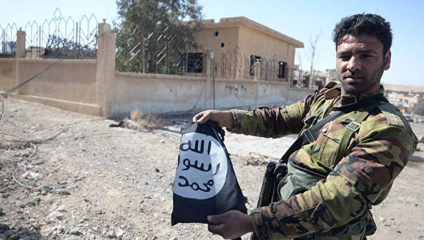 Боец сирийской армии в освобожденном от боевиков городе Эль-Карьятейне. Архивное фото