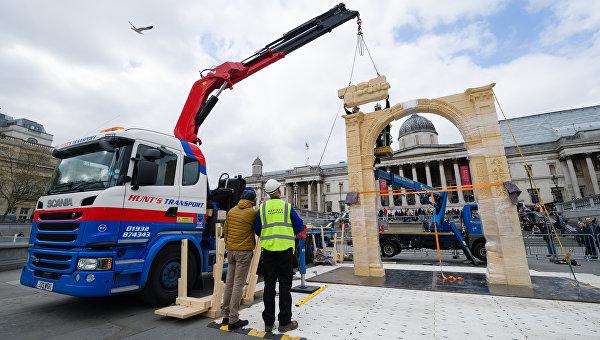 В Лондоне воссоздали копию разрушенной в Пальмире Триумфальной арки