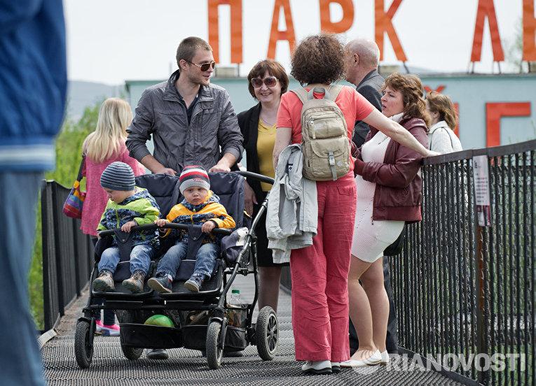 Посетители в крымском сафари-парке Тайган