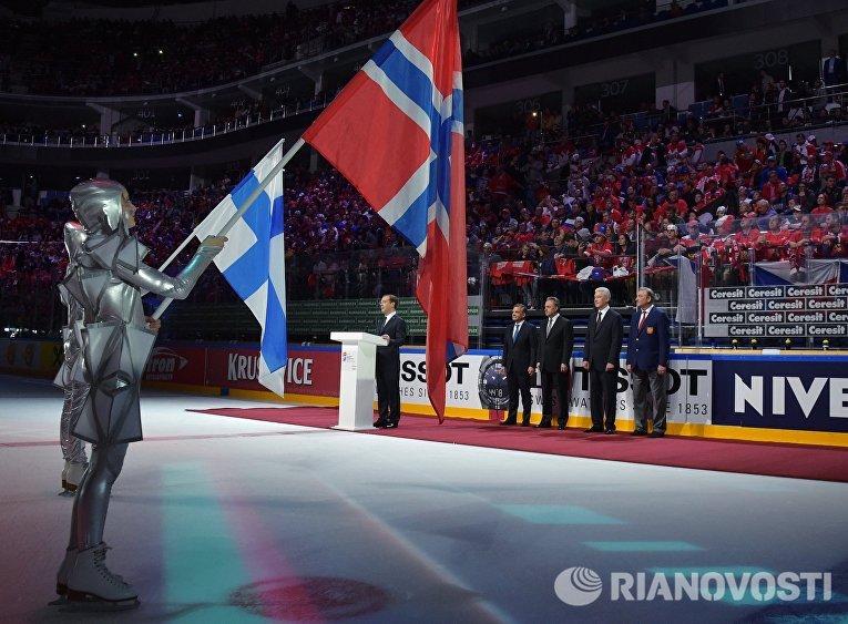 Премьер-министр РФ Д. Медведев принял участие в открытии ЧМ по хоккею 2016