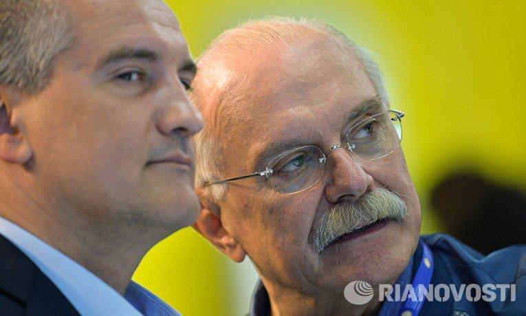 Сергей Аксенов и Никита Михалков на Петербургском международном экономическом форуме