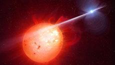 Пульсар обстреливает красного карлика