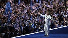 Кандидат в президенты США от демократов Хиллари Клинтон выступает на съезде партии