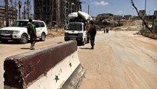 Северный путь снабжения в Алеппо, кпп в квартале Бани-Зейд