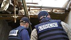 Представители Специальной мониторинговой миссии (СММ) ОБСЕ на территории Докучаевска Донецкой области