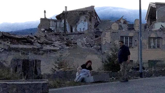 Разрушения в итальянском Аматриче после землетрясения