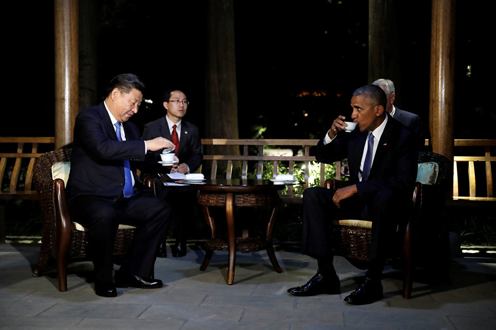 Chinese President Xi Jinping and US President Barack Obama during a meeting in a teahouse. The G20 summit, Hangzhou