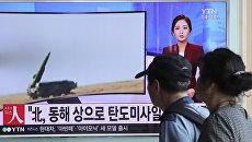 Репортаж о пуске трех баллистических ракет в КНДР. Архивное фото