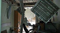 Разрушения в здание украинского телеканала Интер в Киеве, где 4 сентября 2016 произошел пожар