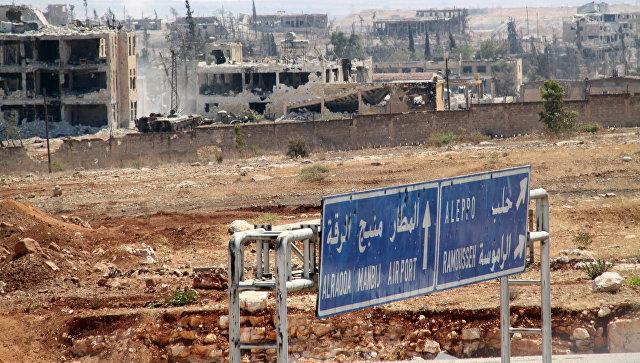 Территория военных училищ в Алеппо, которая была освобождена сирийской армией от боевиков. Архивное фото