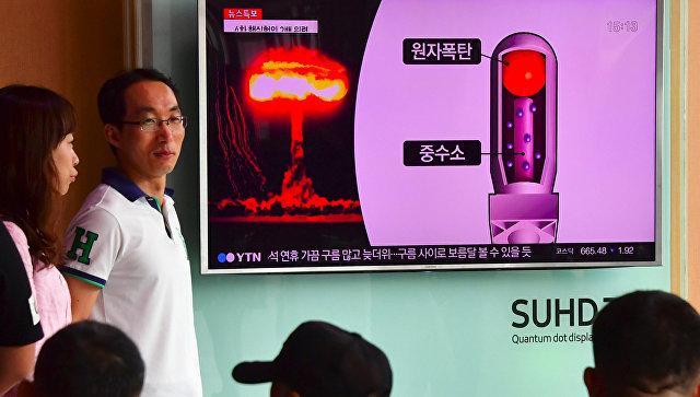 Трансляция выпуска новостей с кадрами ядерных испытаний Северной Кореи на железнодорожном вокзале в Сеуле. 9 сентября 2016